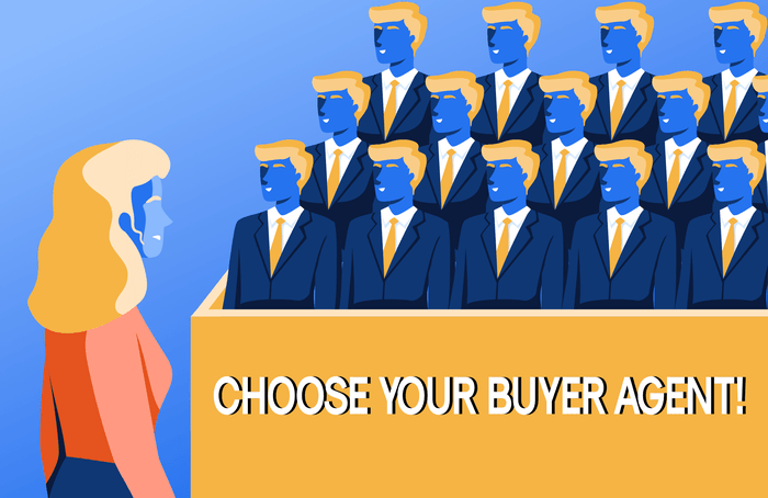 Buyer looking at stands filled with identical buyer agent wondering which one to choose