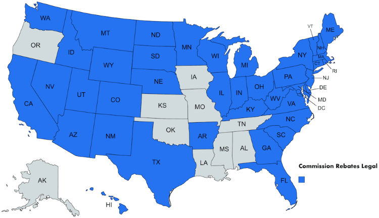Map of the United States showing where commission rebates are legal