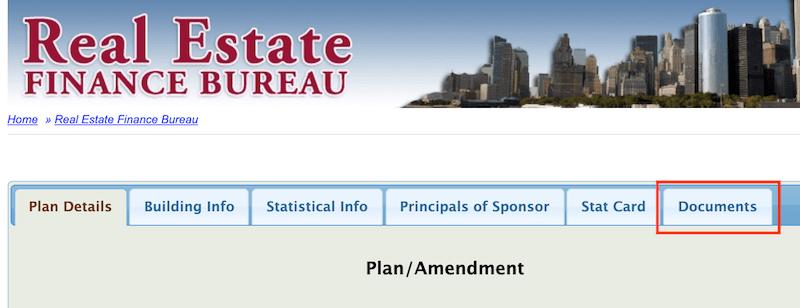 Screenshot of New York Attorney General's offering plan website